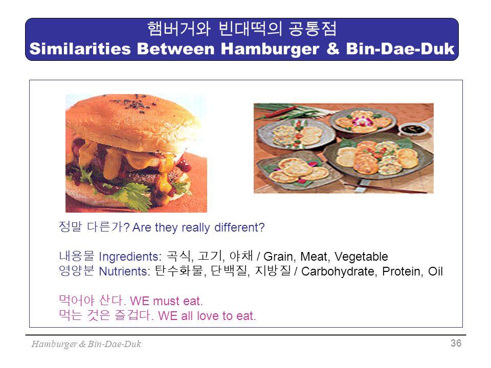 Hamburger & Bin-Dae-Duk 36 햄버거와 빈대떡의 공통점 Similarities Between Hamburger & Bin-Dae-Duk 정말 다른가 .