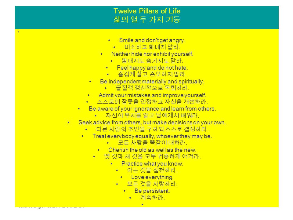 Hamburger & Bin-Dae-Duk 65 Twelve Pillars of Life 삶의 열 두 가지 기둥 Smile and don t get angry.