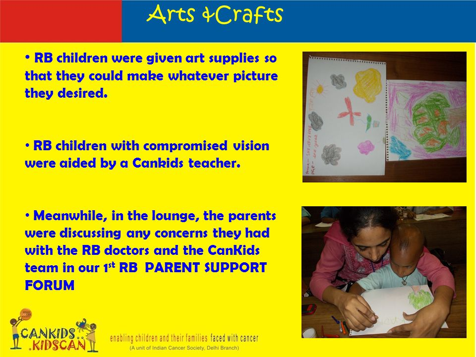 Arts &Crafts RB children were given art supplies so that they could make whatever picture they desired.