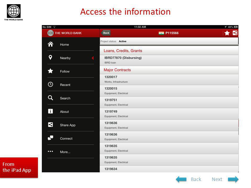 From the iPad App Access the information NextBack