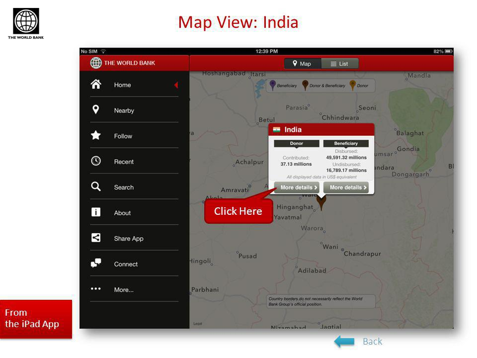 Map View: India From the iPad App Next section: Near By featureBack