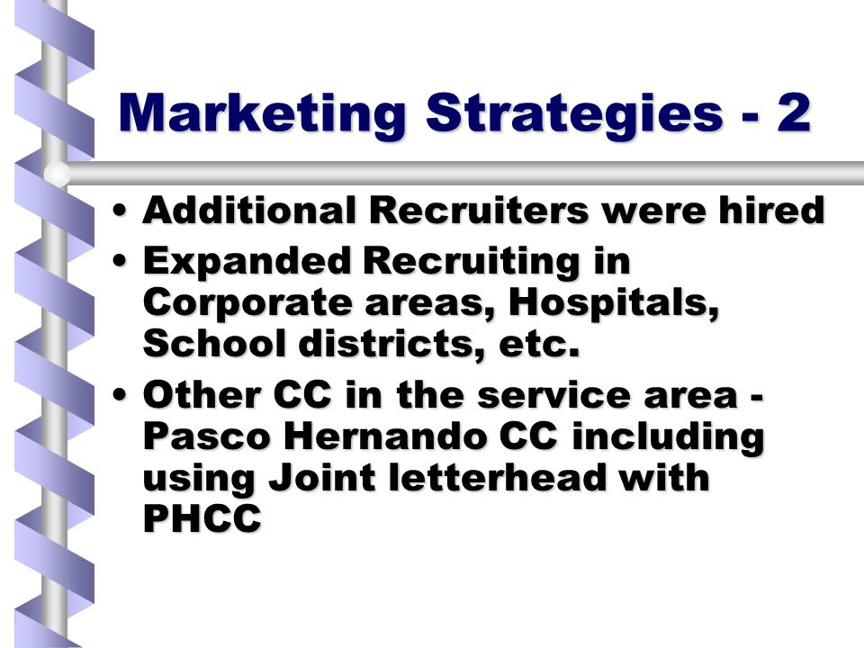 Marketing Strategies - 2 Additional Recruiters were hiredAdditional Recruiters were hired Expanded Recruiting in Corporate areas, Hospitals, School districts, etc.Expanded Recruiting in Corporate areas, Hospitals, School districts, etc.