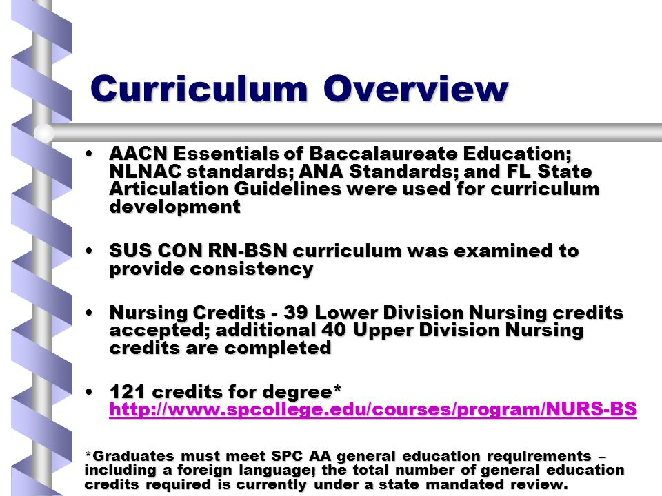 Curriculum Overview AACN Essentials of Baccalaureate Education; NLNAC standards; ANA Standards; and FL State Articulation Guidelines were used for curriculum developmentAACN Essentials of Baccalaureate Education; NLNAC standards; ANA Standards; and FL State Articulation Guidelines were used for curriculum development SUS CON RN-BSN curriculum was examined to provide consistencySUS CON RN-BSN curriculum was examined to provide consistency Nursing Credits - 39 Lower Division Nursing credits accepted; additional 40 Upper Division Nursing credits are completedNursing Credits - 39 Lower Division Nursing credits accepted; additional 40 Upper Division Nursing credits are completed 121 credits for degree* http://www.spcollege.edu/courses/program/NURS-BS121 credits for degree* http://www.spcollege.edu/courses/program/NURS-BS http://www.spcollege.edu/courses/program/NURS-BS *Graduates must meet SPC AA general education requirements – including a foreign language; the total number of general education credits required is currently under a state mandated review.