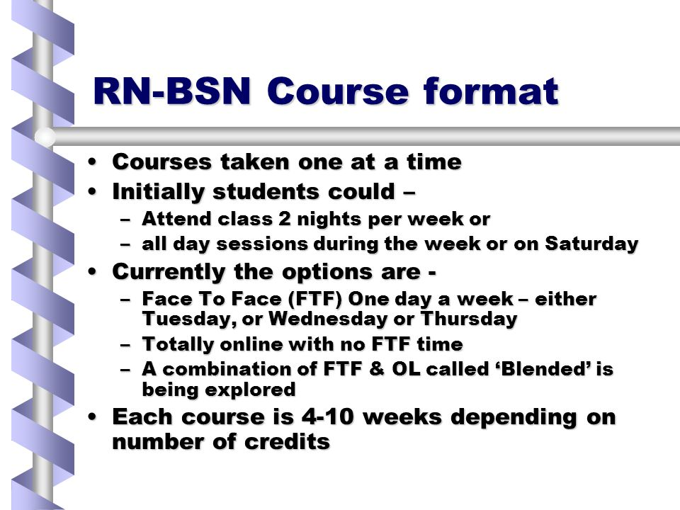 RN-BSN Course format Courses taken one at a timeCourses taken one at a time Initially students could –Initially students could – –Attend class 2 nights per week or –all day sessions during the week or on Saturday Currently the options are -Currently the options are - –Face To Face (FTF) One day a week – either Tuesday, or Wednesday or Thursday –Totally online with no FTF time –A combination of FTF & OL called 'Blended' is being explored Each course is 4-10 weeks depending on number of creditsEach course is 4-10 weeks depending on number of credits