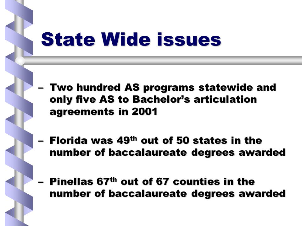 State Wide issues –Two hundred AS programs statewide and only five AS to Bachelor's articulation agreements in 2001 –Florida was 49 th out of 50 states in the number of baccalaureate degrees awarded –Pinellas 67 th out of 67 counties in the number of baccalaureate degrees awarded