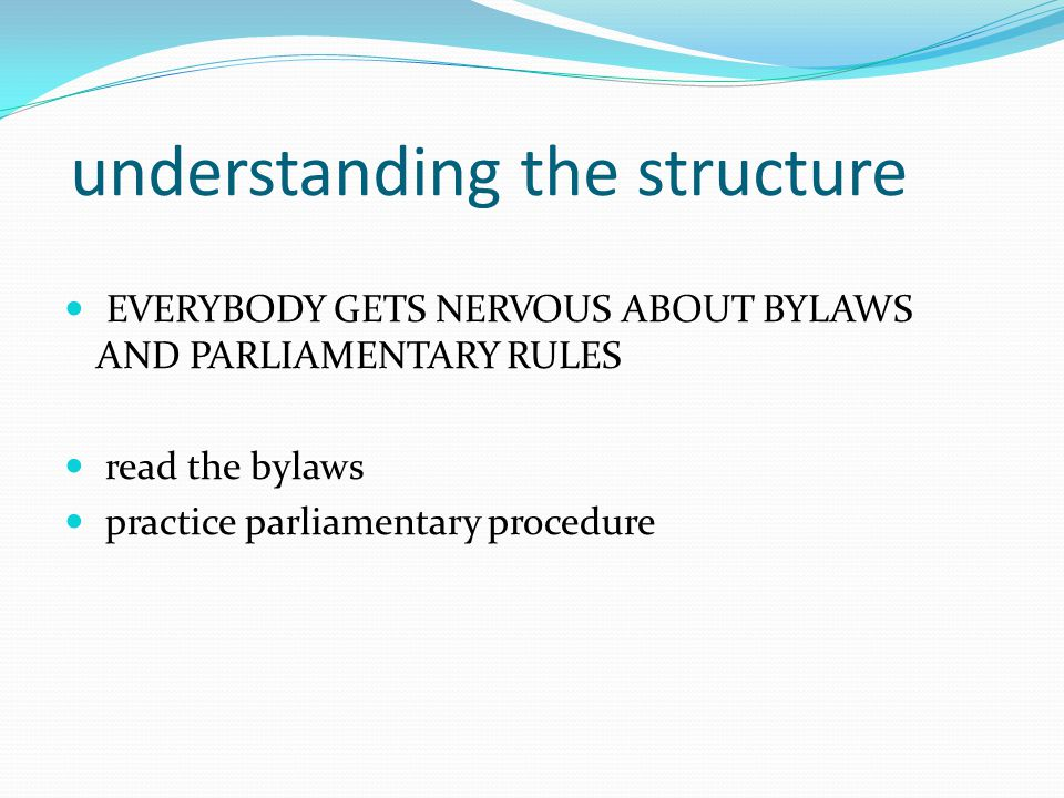 understanding the structure EVERYBODY GETS NERVOUS ABOUT BYLAWS AND PARLIAMENTARY RULES read the bylaws practice parliamentary procedure