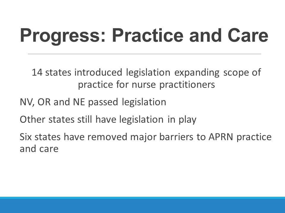 Progress: Practice and Care 14 states introduced legislation expanding scope of practice for nurse practitioners NV, OR and NE passed legislation Other states still have legislation in play Six states have removed major barriers to APRN practice and care