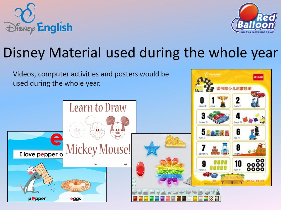 Disney Material used during the whole year Videos, computer activities and posters would be used during the whole year.