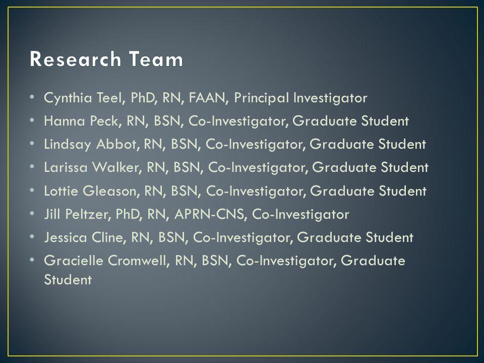 Cynthia Teel, PhD, RN, FAAN, Principal Investigator Hanna Peck, RN, BSN, Co-Investigator, Graduate Student Lindsay Abbot, RN, BSN, Co-Investigator, Graduate Student Larissa Walker, RN, BSN, Co-Investigator, Graduate Student Lottie Gleason, RN, BSN, Co-Investigator, Graduate Student Jill Peltzer, PhD, RN, APRN-CNS, Co-Investigator Jessica Cline, RN, BSN, Co-Investigator, Graduate Student Gracielle Cromwell, RN, BSN, Co-Investigator, Graduate Student