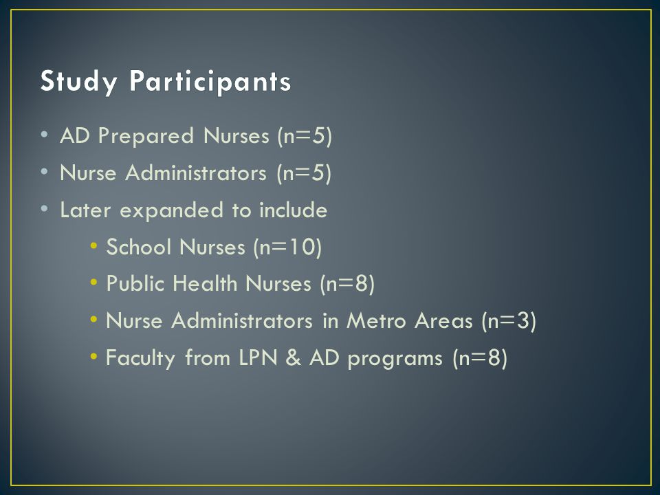 AD Prepared Nurses (n=5) Nurse Administrators (n=5) Later expanded to include School Nurses (n=10) Public Health Nurses (n=8) Nurse Administrators in