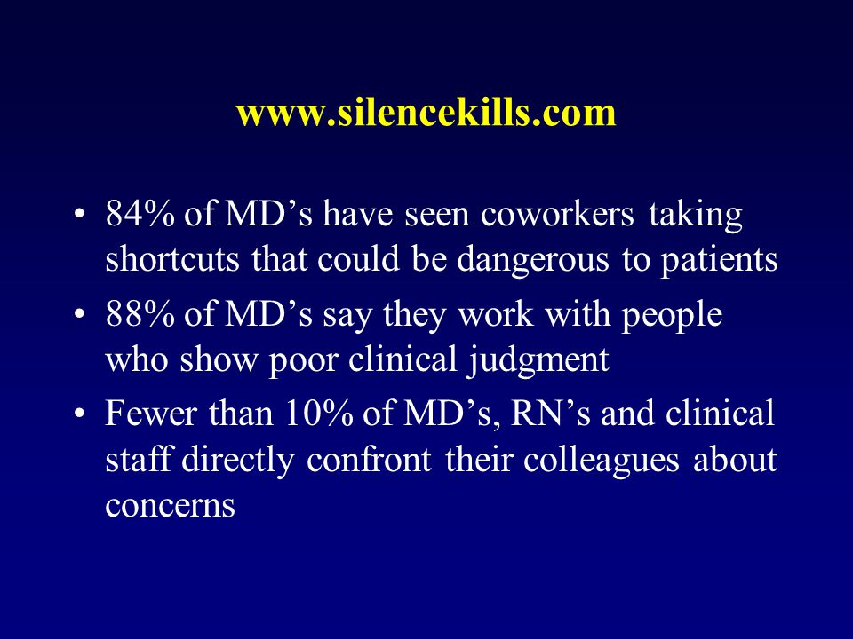 www.silencekills.com 84% of MD's have seen coworkers taking shortcuts that could be dangerous to patients 88% of MD's say they work with people who show poor clinical judgment Fewer than 10% of MD's, RN's and clinical staff directly confront their colleagues about concerns