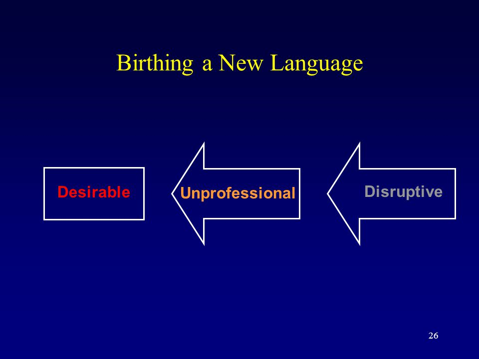 26 Birthing a New Language Desirable Unprofessional Disruptive