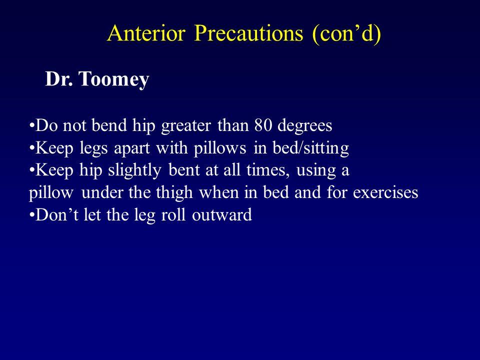 Anterior Precautions (con'd) Dr.