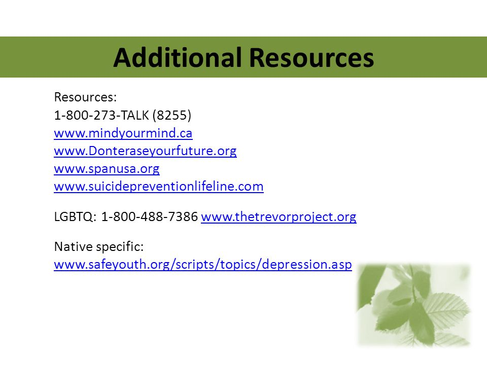 Additional Resources Resources: 1-800-273-TALK (8255) www.mindyourmind.ca www.Donteraseyourfuture.org www.spanusa.org www.suicidepreventionlifeline.co