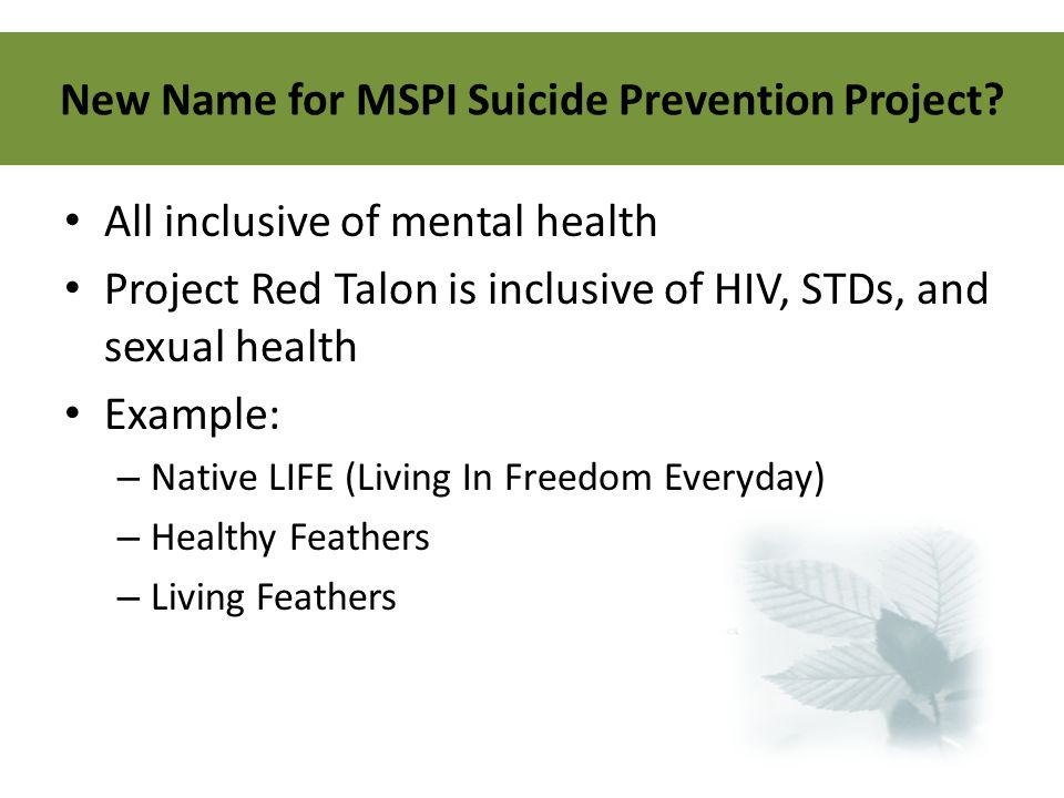 New Name for MSPI Suicide Prevention Project? All inclusive of mental health Project Red Talon is inclusive of HIV, STDs, and sexual health Example: –