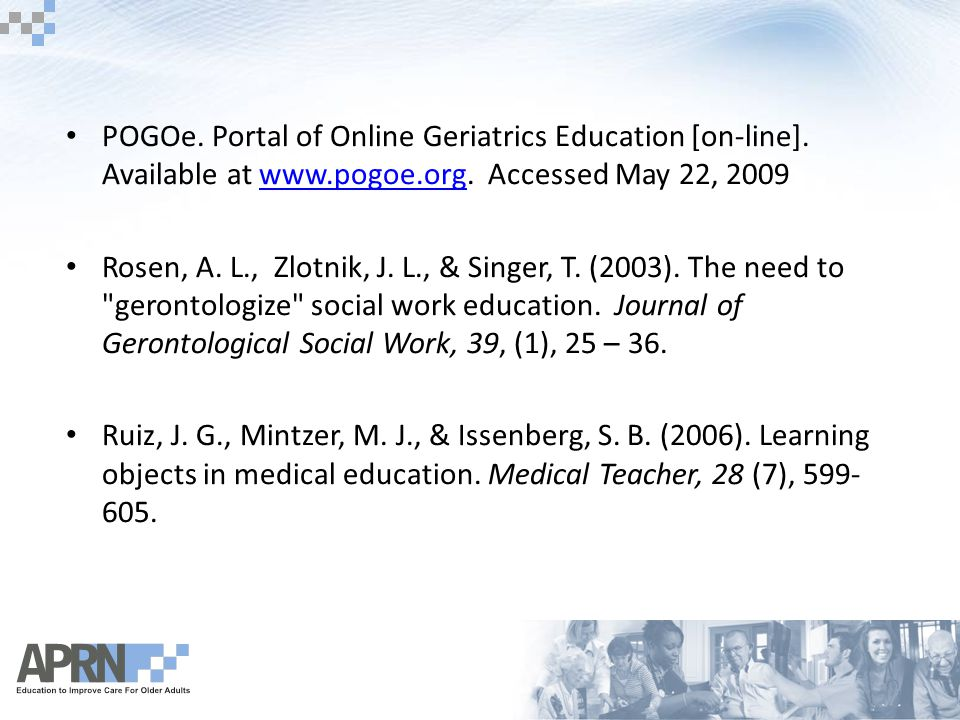 POGOe. Portal of Online Geriatrics Education [on-line].
