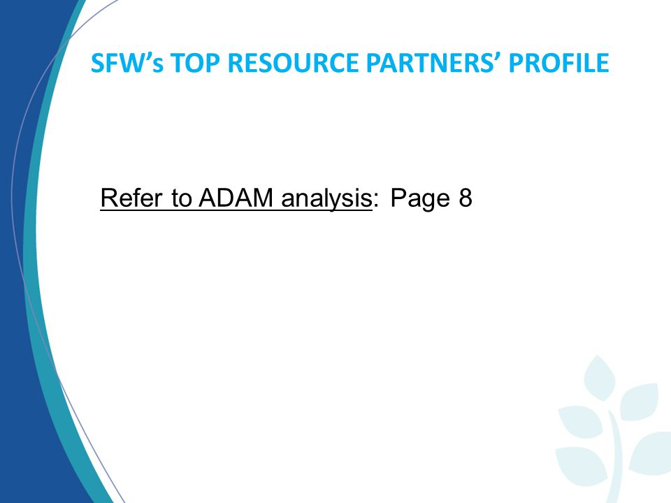 SFW's TOP RESOURCE PARTNERS' PROFILE Refer to ADAM analysis: Page 8