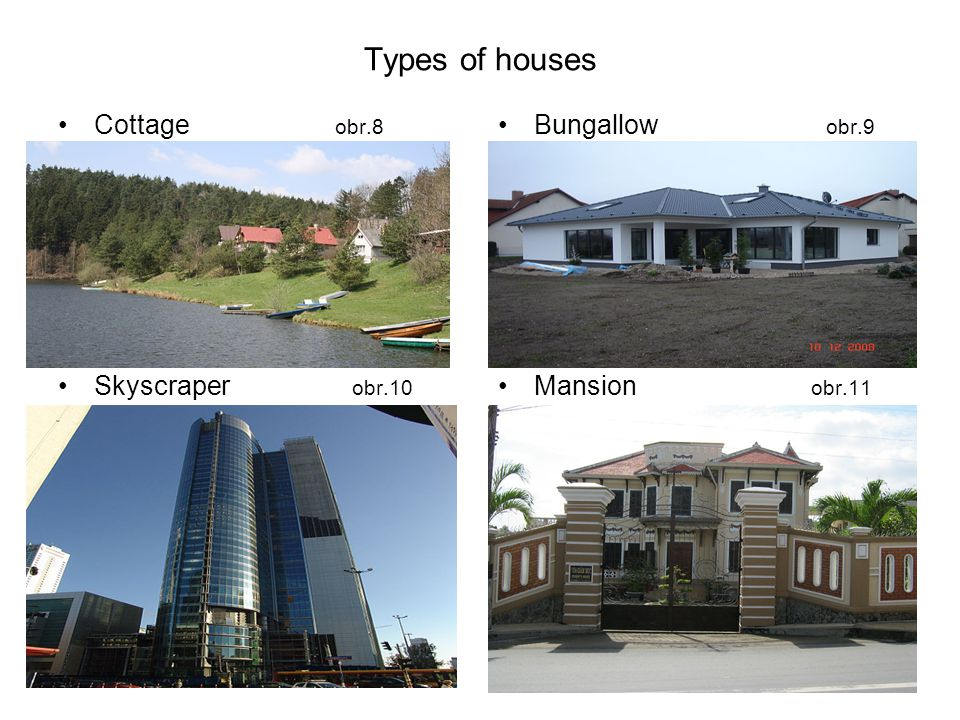 Types of houses Cottage obr.8 Skyscraper obr.10 Bungallow obr.9 Mansion obr.11