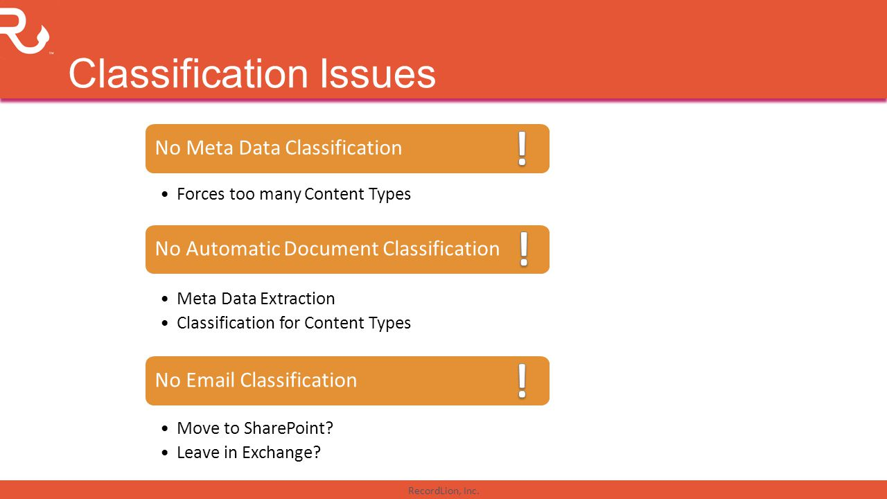 RecordLion, Inc. Classification Issues No Automatic Document Classification Meta Data Extraction Classification for Content Types No Email Classificat