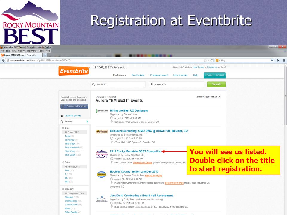 You will see us listed. Double click on the title to start registration. Registration at Eventbrite