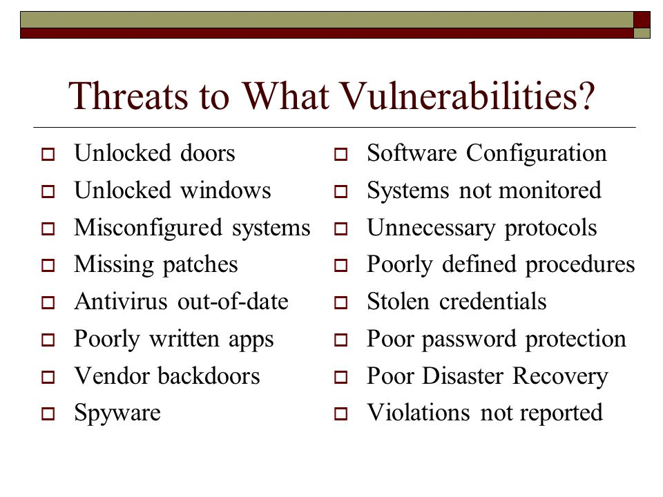 Threats to What Vulnerabilities.