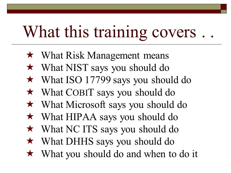 What this training covers..