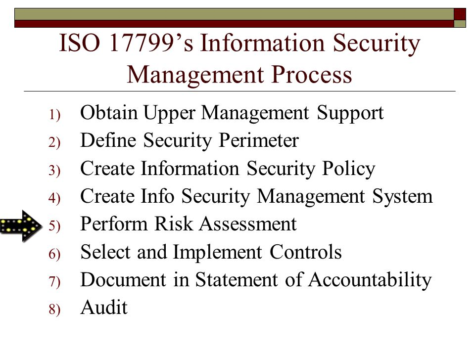 ISO 17799's Information Security Management Process 1) Obtain Upper Management Support 2) Define Security Perimeter 3) Create Information Security Policy 4) Create Info Security Management System 5) Perform Risk Assessment 6) Select and Implement Controls 7) Document in Statement of Accountability 8) Audit
