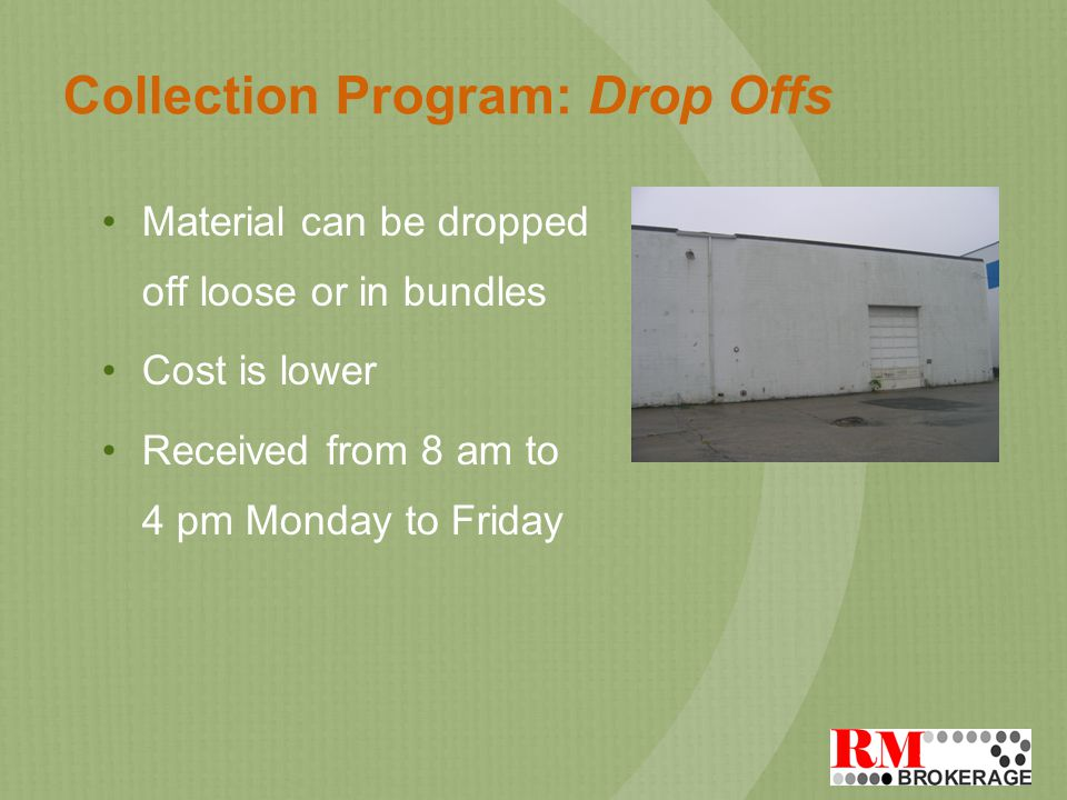 Collection Program: Drop Offs Material can be dropped off loose or in bundles Cost is lower Received from 8 am to 4 pm Monday to Friday