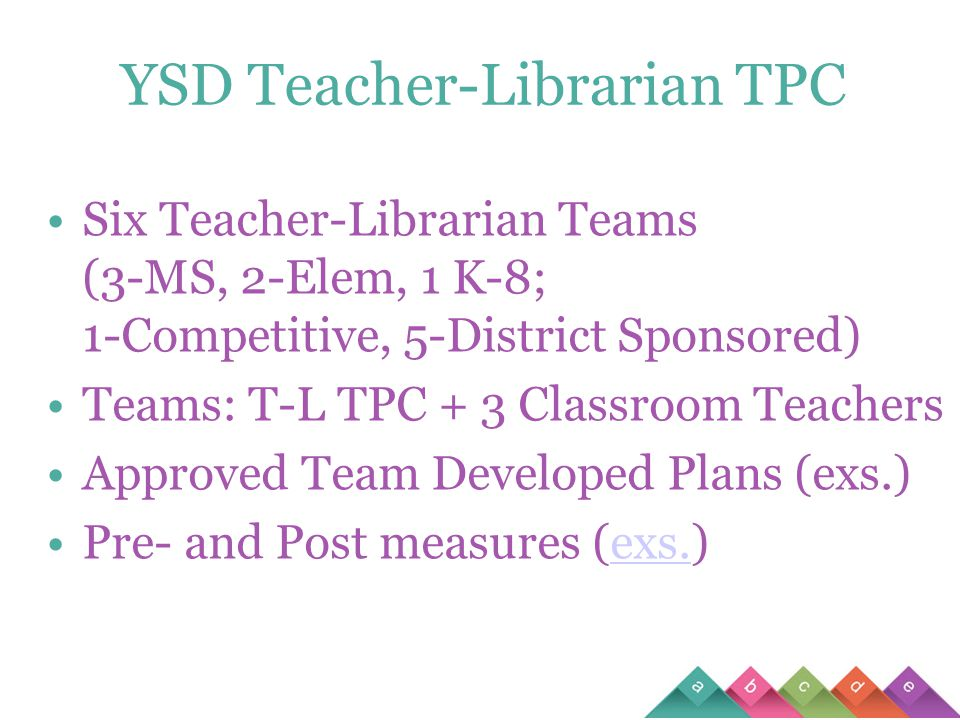 YSD Teacher-Librarian TPC Six Teacher-Librarian Teams (3-MS, 2-Elem, 1 K-8; 1-Competitive, 5-District Sponsored) Teams: T-L TPC + 3 Classroom Teachers Approved Team Developed Plans (exs.) Pre- and Post measures (exs.)exs.
