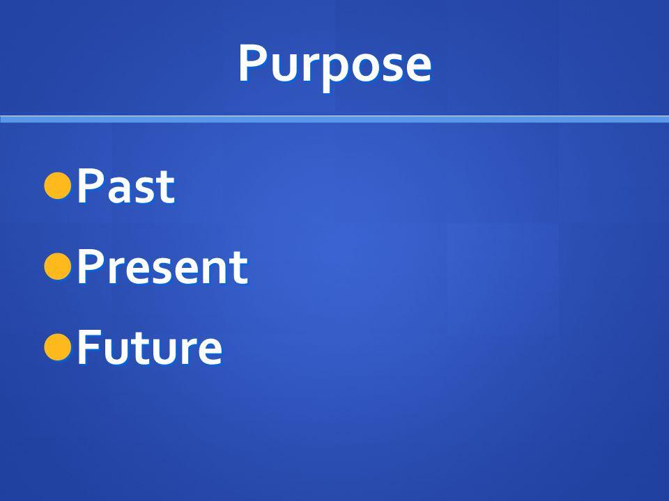 Purpose Past Past Present Present Future Future