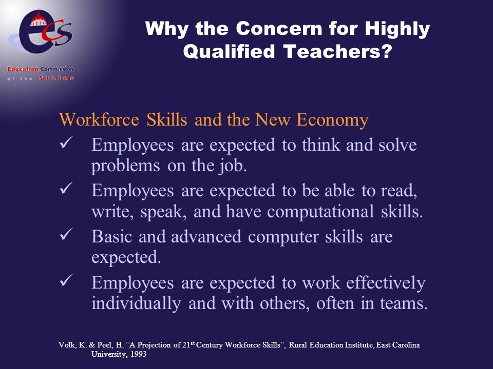 Why the Concern for Highly Qualified Teachers? Workforce Skills and the New Economy Employees are expected to think and solve problems on the job. Emp