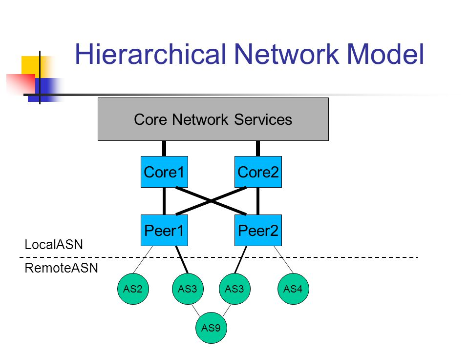 Hierarchical Network Model Core1Core2 Peer1Peer2 AS2AS3 AS4 Core Network Services AS9 LocalASN RemoteASN