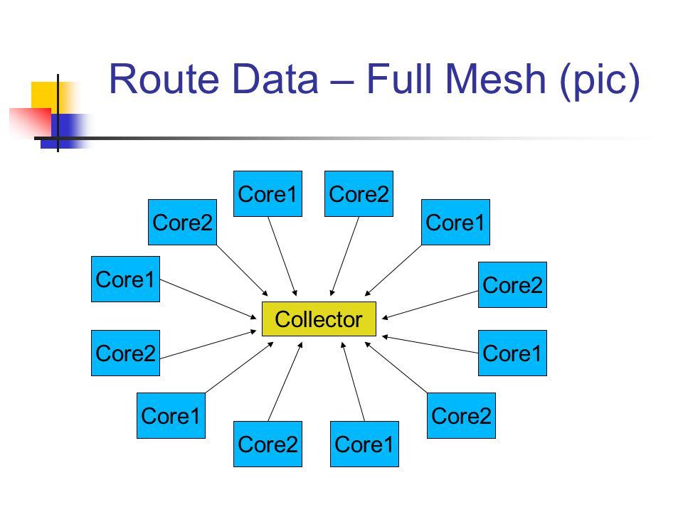 Route Data – Full Mesh (pic) Core2 Core1 Core2 Core1 Core2Core1 Core2 Core1 Core2 Core1 Core2 Collector