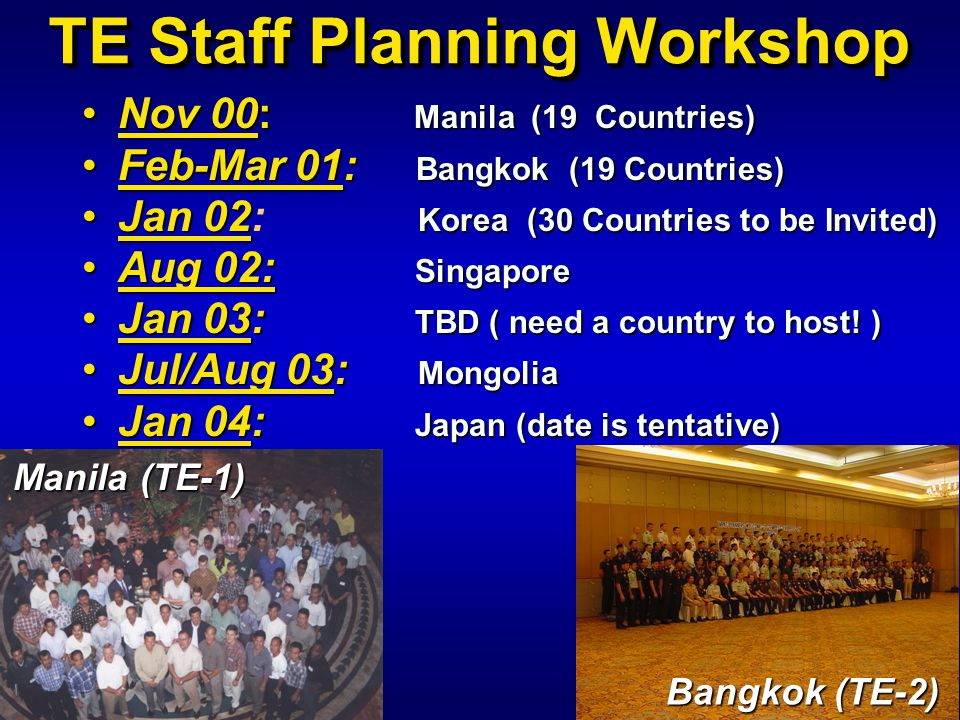 TE Staff Planning Workshop Nov 00: Manila (19 Countries)Nov 00: Manila (19 Countries) Feb-Mar 01: Bangkok (19 Countries)Feb-Mar 01: Bangkok (19 Countr