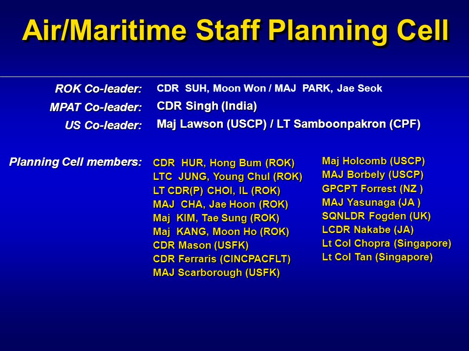 Air/Maritime Staff Planning Cell CDR SUH, Moon Won / MAJ PARK, Jae Seok CDR Singh (India) Maj Lawson (USCP) / LT Samboonpakron (CPF) ROK Co-leader: MP