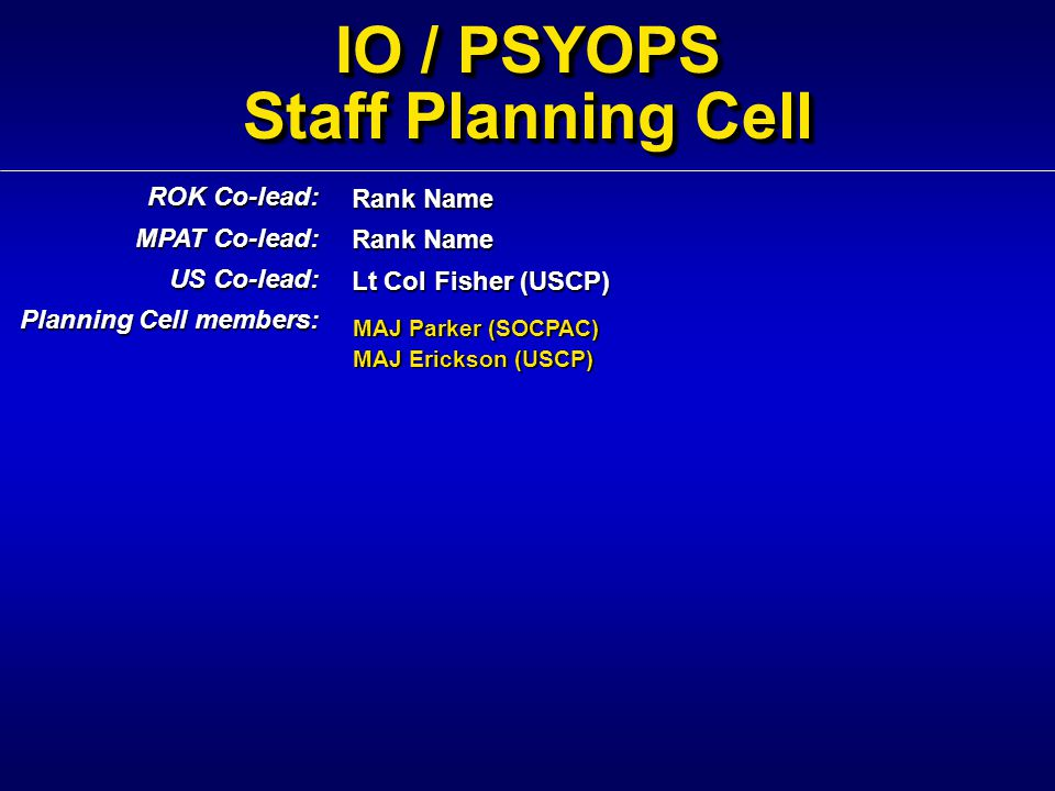 IO / PSYOPS Staff Planning Cell Rank Name Lt Col Fisher (USCP) ROK Co-lead: MPAT Co-lead: US Co-lead: Planning Cell members: MAJ Parker (SOCPAC) MAJ E