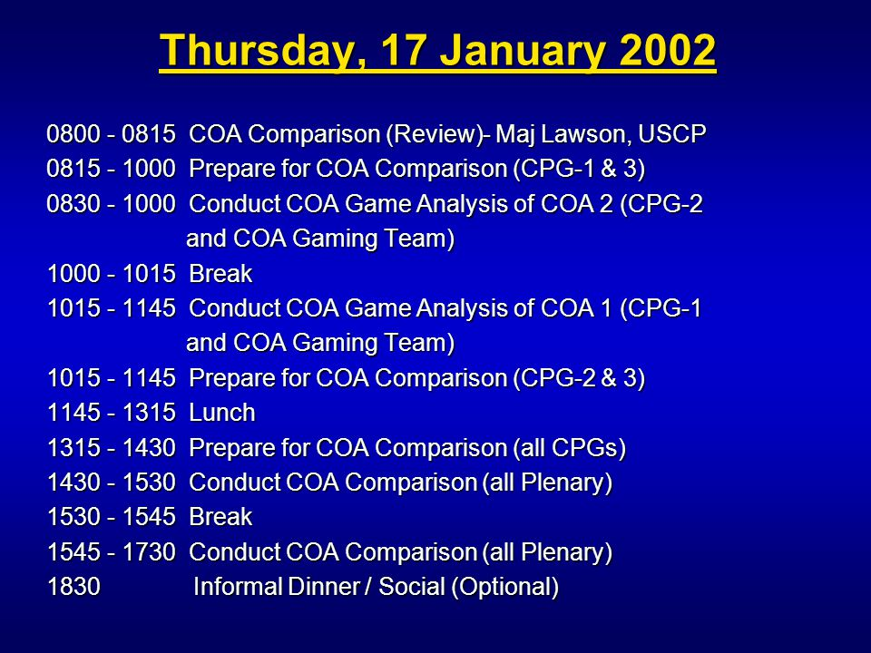 0800 - 0815 COA Comparison (Review)- Maj Lawson, USCP 0815 - 1000 Prepare for COA Comparison (CPG-1 & 3) 0830 - 1000 Conduct COA Game Analysis of COA