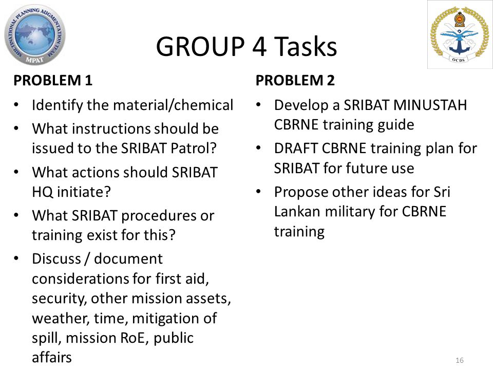 GROUP 4 Tasks PROBLEM 1 Identify the material/chemical What instructions should be issued to the SRIBAT Patrol? What actions should SRIBAT HQ initiate