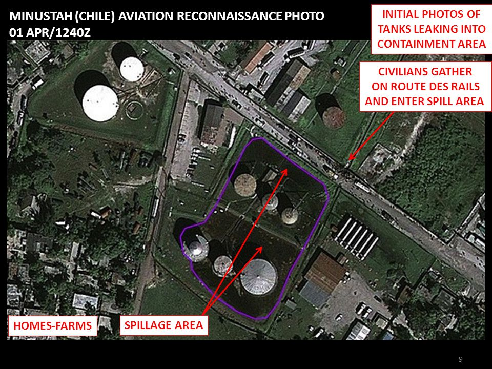 INITIAL PHOTOS OF TANKS LEAKING INTO CONTAINMENT AREA CIVILIANS GATHER ON ROUTE DES RAILS AND ENTER SPILL AREA SPILLAGE AREA MINUSTAH (CHILE) AVIATION