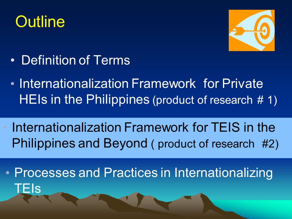 Definition of Terms Internationalization Framework for Private HEIs in the Philippines (product of research # 1) Processes and Practices in Internationalizing TEIs Internationalization Framework for TEIS in the Philippines and Beyond ( product of research #2) Outline