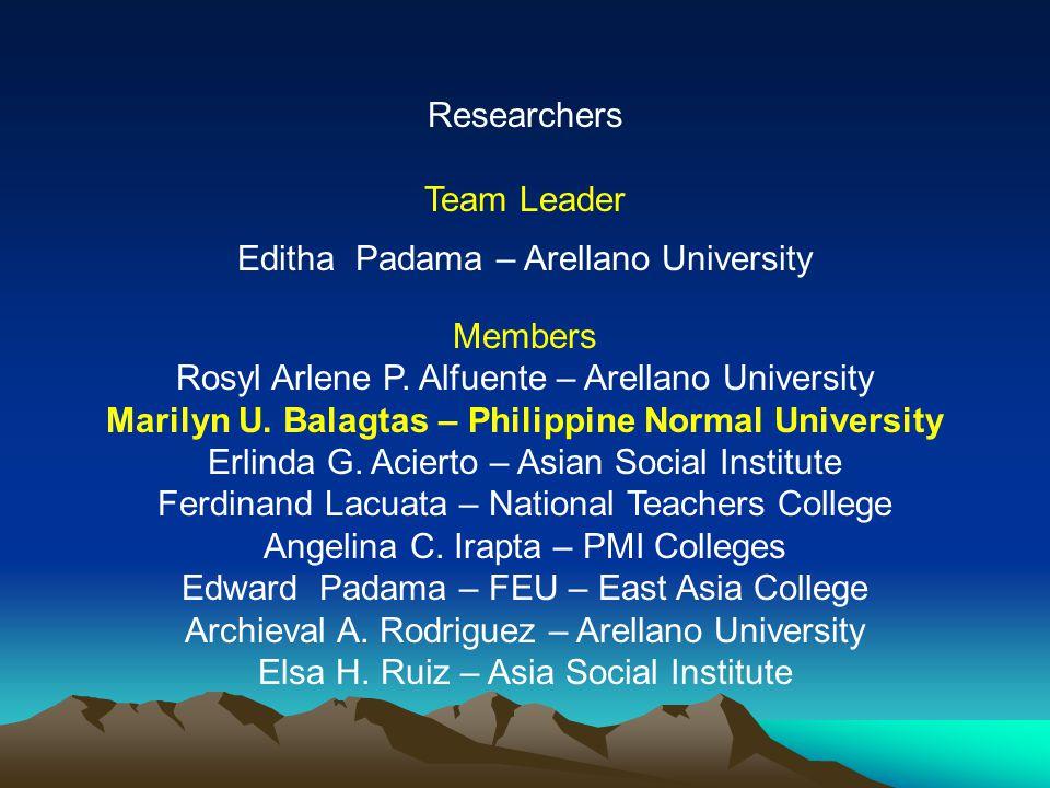 Researchers Team Leader Editha Padama – Arellano University Members Rosyl Arlene P.