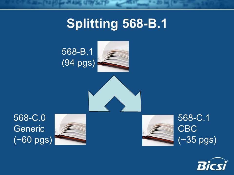 Splitting 568-B.1 568-B.1 (94 pgs) 568-C.0 Generic (~60 pgs) 568-C.1 CBC (~35 pgs)