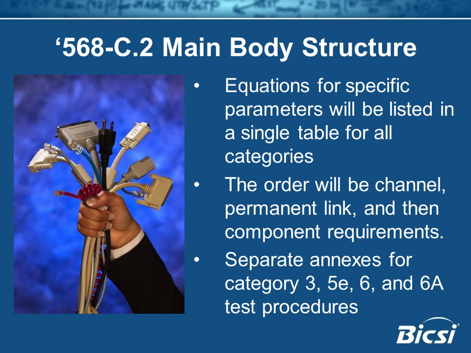 '568-C.2 Main Body Structure Equations for specific parameters will be listed in a single table for all categories The order will be channel, permanent link, and then component requirements.