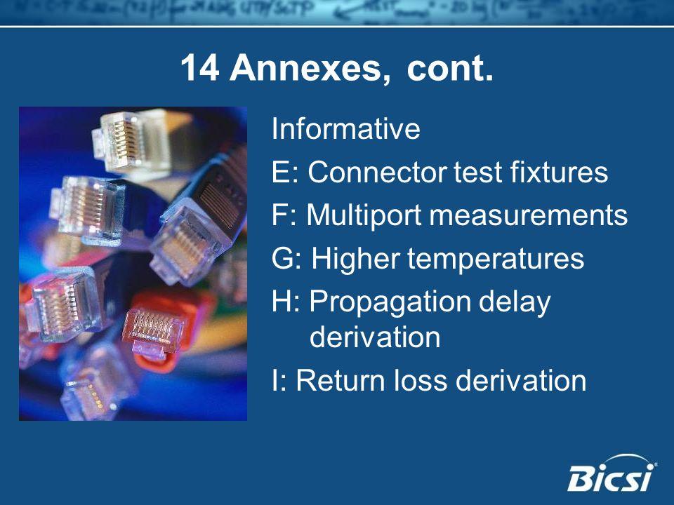 14 Annexes, cont. Informative E: Connector test fixtures F: Multiport measurements G: Higher temperatures H: Propagation delay derivation I: Return lo