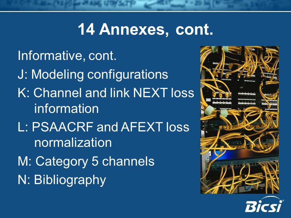 14 Annexes, cont. Informative, cont. J: Modeling configurations K: Channel and link NEXT loss information L: PSAACRF and AFEXT loss normalization M: C