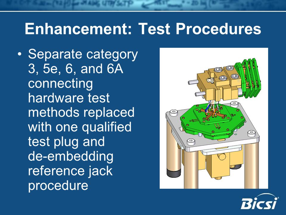 Enhancement: Test Procedures Separate category 3, 5e, 6, and 6A connecting hardware test methods replaced with one qualified test plug and de-embedding reference jack procedure