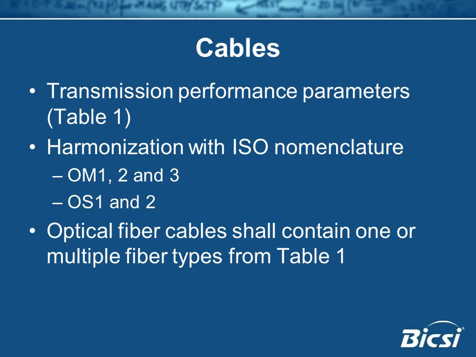 Cables Transmission performance parameters (Table 1) Harmonization with ISO nomenclature –OM1, 2 and 3 –OS1 and 2 Optical fiber cables shall contain one or multiple fiber types from Table 1
