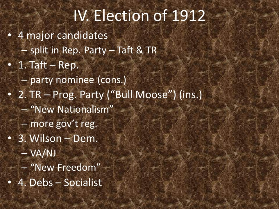 IV. Election of 1912 4 major candidates – split in Rep.
