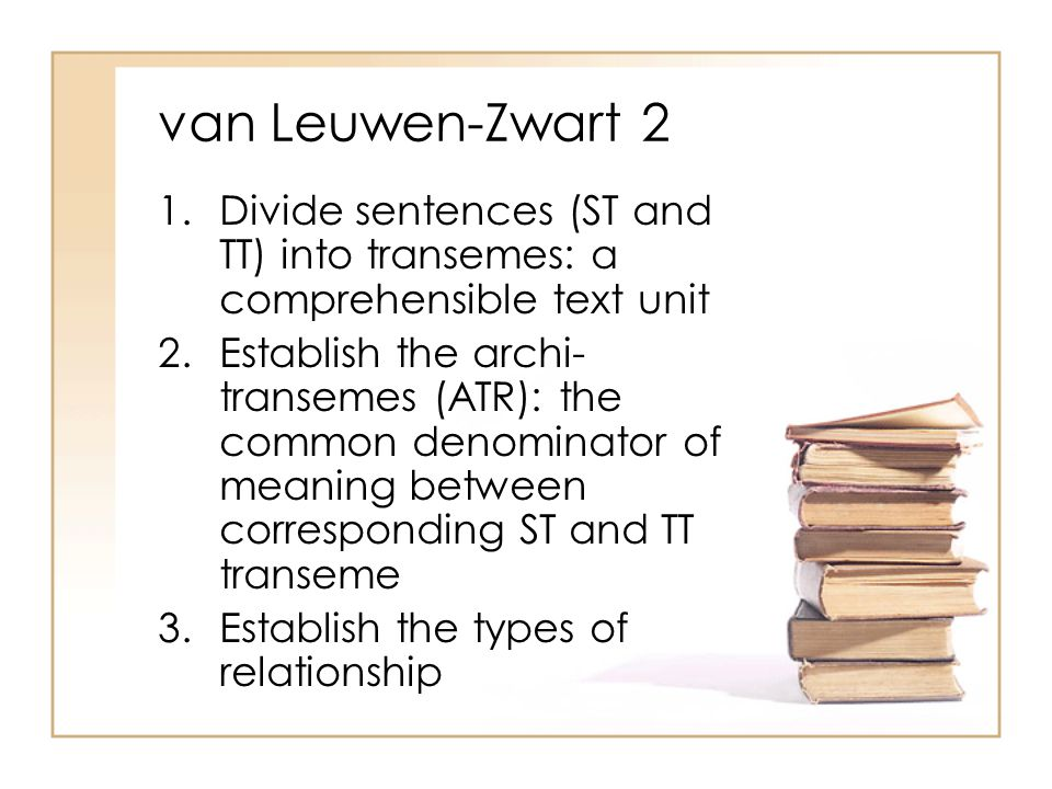 van Leuwen-Zwart 2 1.Divide sentences (ST and TT) into transemes: a comprehensible text unit 2.Establish the archi- transemes (ATR): the common denominator of meaning between corresponding ST and TT transeme 3.Establish the types of relationship