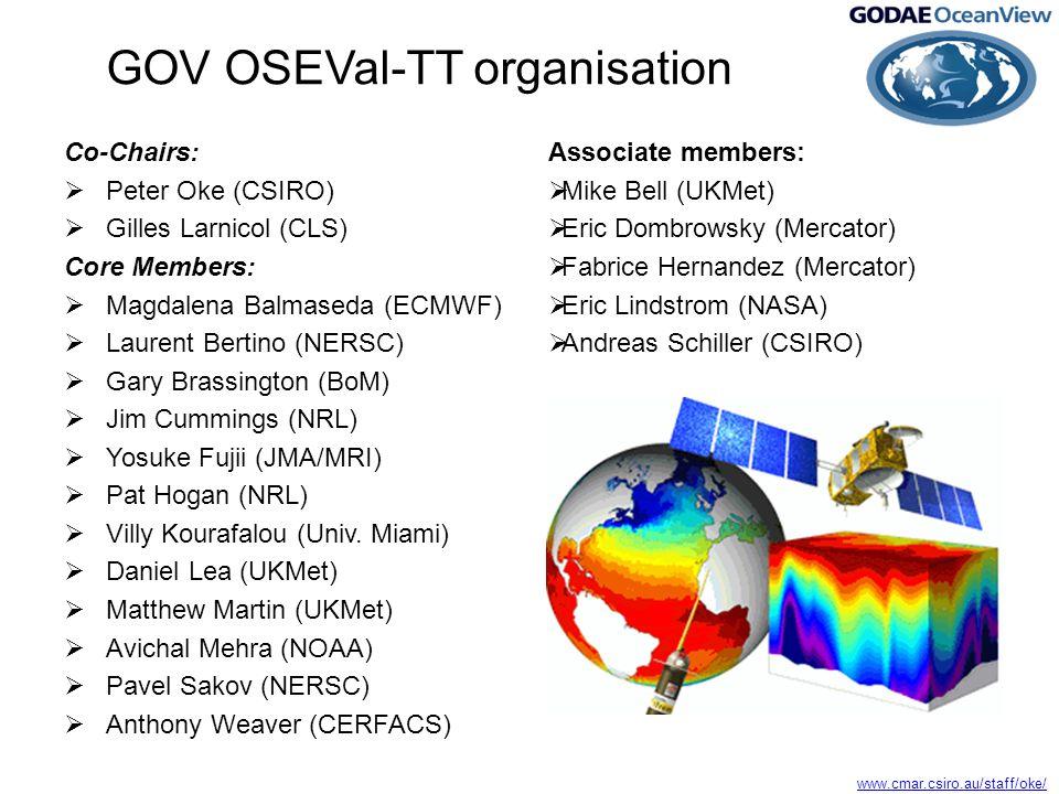 www.cmar.csiro.au/staff/oke/ GOV OSEVal-TT organisation Co-Chairs:  Peter Oke (CSIRO)  Gilles Larnicol (CLS) Core Members:  Magdalena Balmaseda (ECMWF)  Laurent Bertino (NERSC)  Gary Brassington (BoM)  Jim Cummings (NRL)  Yosuke Fujii (JMA/MRI)  Pat Hogan (NRL)  Villy Kourafalou (Univ.